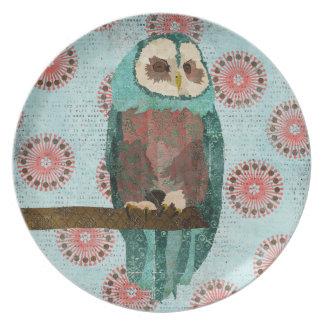 Azure & Blush Owl Plate