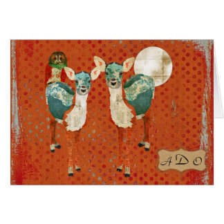 Azure Deer & Rose Owl Monogram Notecard Greeting Card