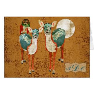 Azure Deer & Rose Owl Monogram Notecard Greeting Cards