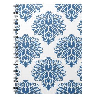 Azure Elegant Damask Spiral Notebooks
