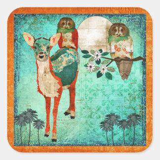 Azure Fawn & Rose Owl Moonlight Sticker