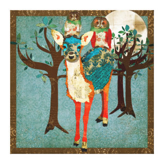 Azure Fawn & Rose Owls Full Moon Canvas Art Stretched Canvas Prints