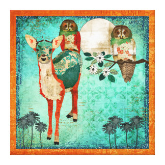 Azure Fawn & Rose Owls Moonlight Canvas Art Gallery Wrapped Canvas