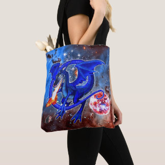 Azurite Cosmic Dragon Tote Bag