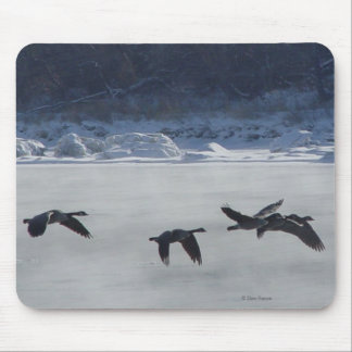 B0048 Canadian Geese Over Frozen River Mouse Pad