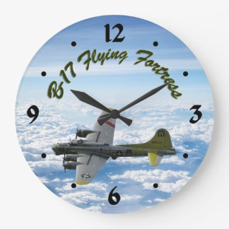 B17 Flying Fortress WWII Bomber Airplane Large Clock