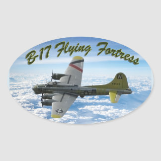 B17 Flying Fortress WWII Bomber Airplane Oval Sticker