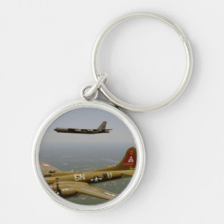B17G and B52H Bombers in Flight Key Ring