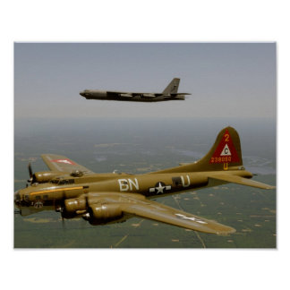 B17G and B52H Bombers in Flight Poster