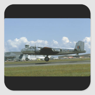 B25 Landing. (plane;b25_WWII Planes Square Sticker