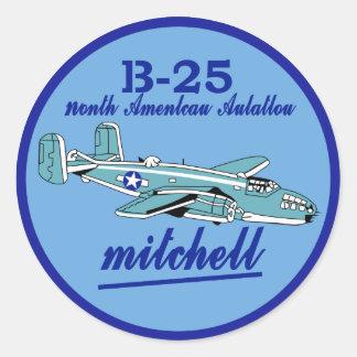 B25 Mitchell Abzeichen Mitchell B25 North American Classic Round Sticker