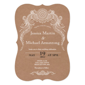 B2-Vintage scroll design wedding invitation card