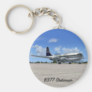 B377 Stratocruiser Airliner Basic Round Button Key Ring