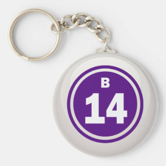 B-14- BINGO BALL BASIC ROUND BUTTON KEY RING