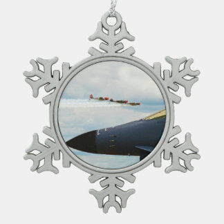 B-1 Bomber and WWII Fighters Snowflake Pewter Christmas Ornament