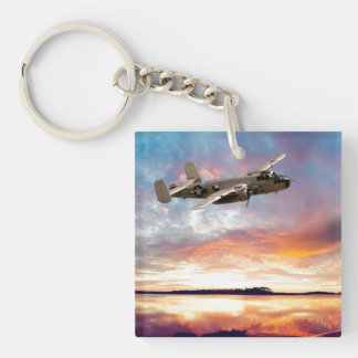 B-25 Mitchell Double-Sided Square Acrylic Key Ring