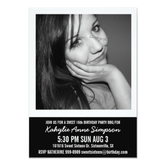 B and W Photo Sweet 16 Party Invitations