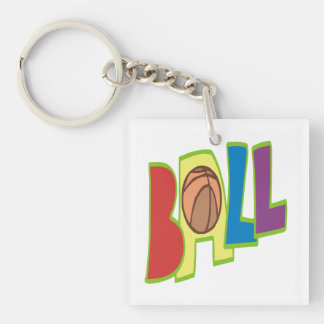 B Ball 2 Double-Sided Square Acrylic Key Ring