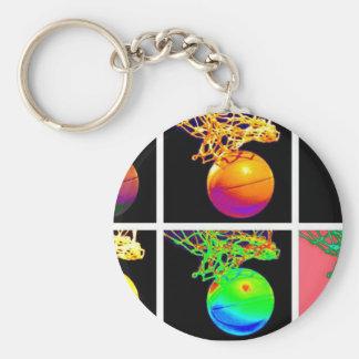 B-Ball Basketball Hoops Pop Art Basic Round Button Key Ring