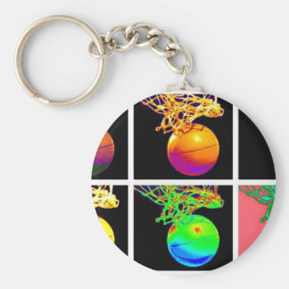 B-Ball Basketball Hoops Pop Art Basic Round Button Key Ring