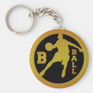 B-BALL GOLD BASIC ROUND BUTTON KEY RING
