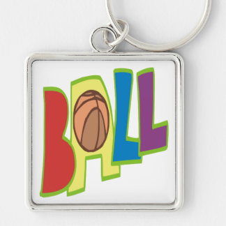 B Ball Silver-Colored Square Key Ring