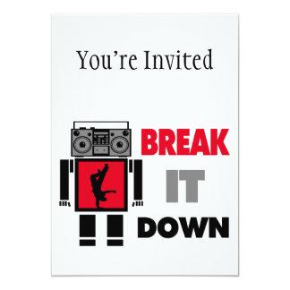 """B Boy Boombox Robot Break It Down 5"""" X 7"""" Invitation Card"""