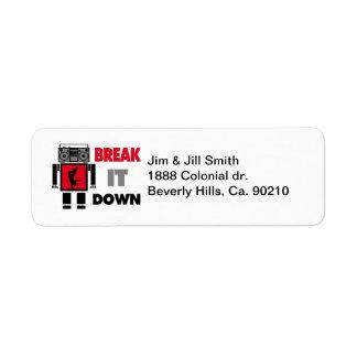 B Boy Boombox Robot Break It Down Return Address Label