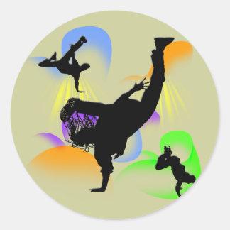 B-boying Round Sticker