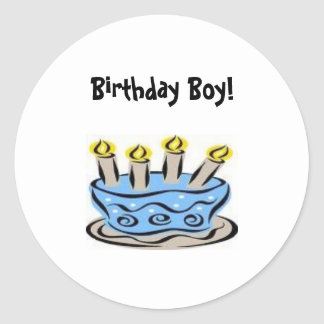 b-day cake 2, Birthday Boy! Classic Round Sticker