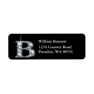 """B"" Diamond Bling Monogram Return Address Label"