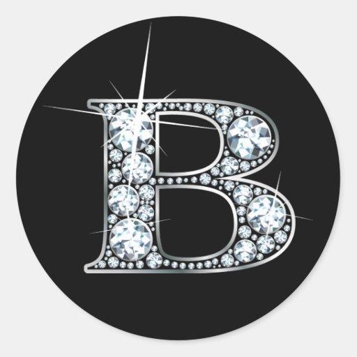 "B ""Diamond Bling"" Print Sticker"