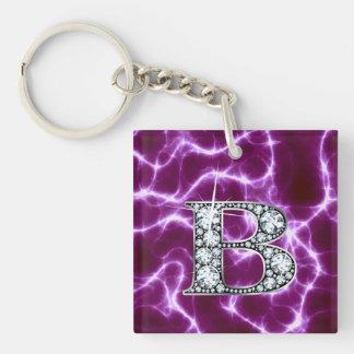 "B ""Diamond"" Monogram on Lightning Bolt Single-Sided Square Acrylic Key Ring"
