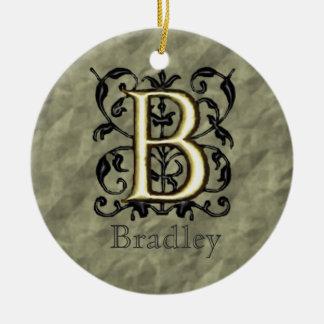 B - Embossed Vintage Monogram Ceramic Ornament