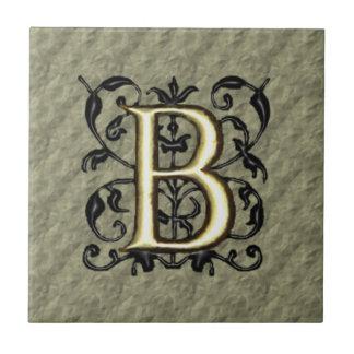 B - Embossed Vintage Monogram (Gold) Small Square Tile