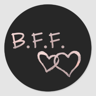 B F F with Linked Hearts Round Sticker