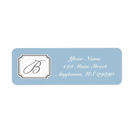 B Fancy Mongram Address Label (Blue)