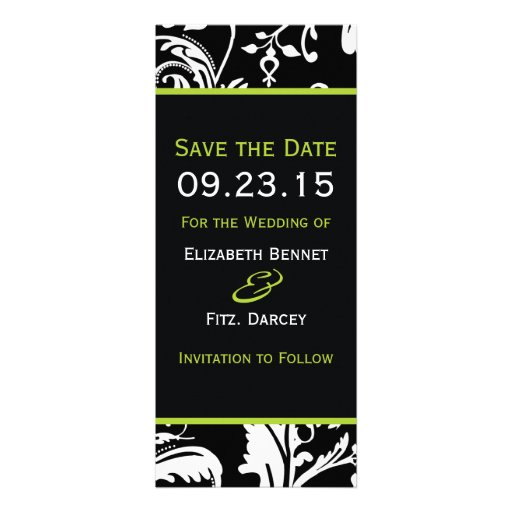 B&G Contemporary Damask Save the Date Skinny Announcements