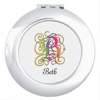 B Gothic Sunshine Mirror Compact with Name