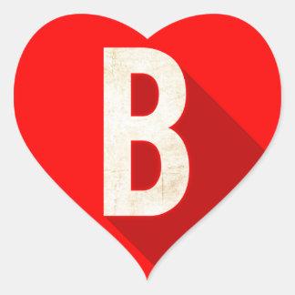 B HEART STICKER