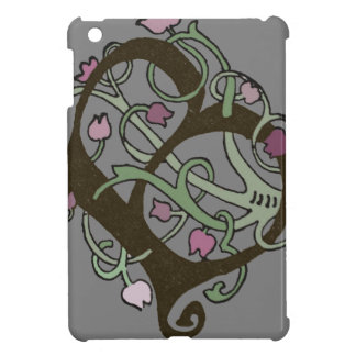 B Initial Cap Decorative Floral Design Vintage Case For The iPad Mini