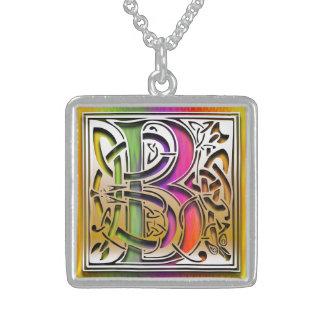 B Initial Monogram Celtic Rainbow Necklace Jewelry