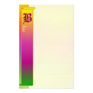 "B Initial ""Sunshine Ripples"" Initial Fine Lined Personalized Stationery"