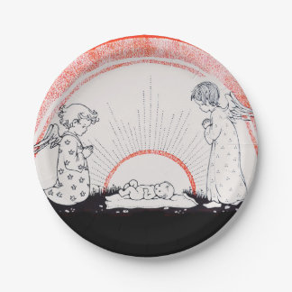 B is for Baby Jesus with Child Angels Paper Plate