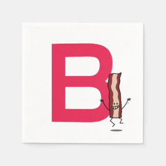 B is for Bacon happy jumping strip abc letter Disposable Napkins