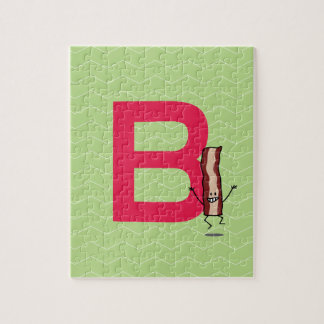B is for Bacon happy jumping strip abc letter Jigsaw Puzzle