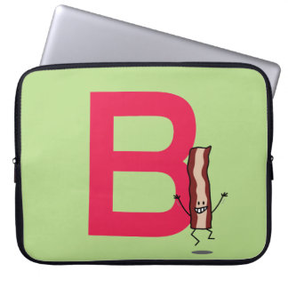 B is for Bacon happy jumping strip abc letter Laptop Sleeve