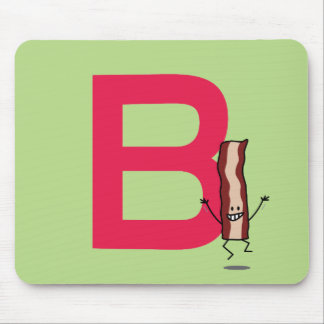 B is for Bacon happy jumping strip abc letter Mouse Pad