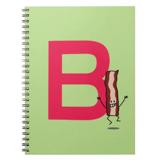 B is for Bacon happy jumping strip abc letter Notebook