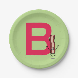 B is for Bacon happy jumping strip abc letter Paper Plate